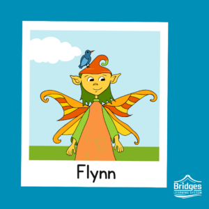Flynn has medium-length hair and dark eyes. They wear a carrot shaped hat, a full-length, triangular dress, and four legs. Their swallowtail butterfly wings shift between clean lines to piano keys.