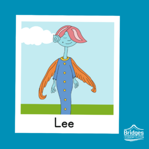 Lee is tall and thin, with quiet features, a spiral ear, and a bright lock of pink hair covering one eye. They wear a full-body dress, with buttons running down the front. Their wings are orange, feathery, and sleek. Their skin is light blue.