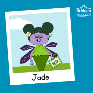 Jade has purple skin and a neat pair of buns similar to mouse ears. They have a daisy barrette in their hair, and wear a scalloped shirt. They carry a communication board with a mouth on it, and have diamond shaped wings.