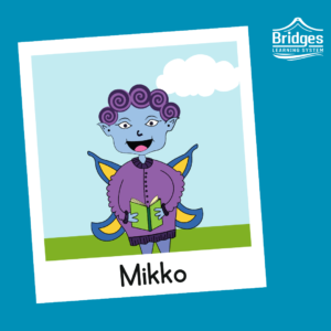 Mikko is short and round with super curly purple hair. Their skin is blue, and they wear a purple cozy sweater. They have blue and yellow swallowtail butterfly wings, a simple pair of pants, and bumpy shoes. They carry around a book at all times.