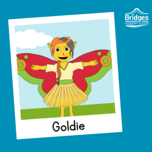 Goldie has sunshine skin, cat-like eyes, messy hair in a single braid, and wears a loose v-neck tunic and a floaty skirt. They have big butterfly-like wings and cloven feet.