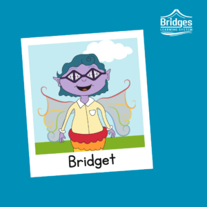 Bridget has purple skin, and wears dark purple glasses shaped like a bridge. She wears her blue hair in short curls. She has a rainbow colored mermaid tail, and wears and light yellow buttoned top. She has delicate rainbow wings.
